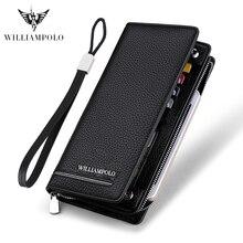 Williampolo Leather Luxury Brand Men Zipper Wallets Long Men Purse Clutch Business Wallet PL219