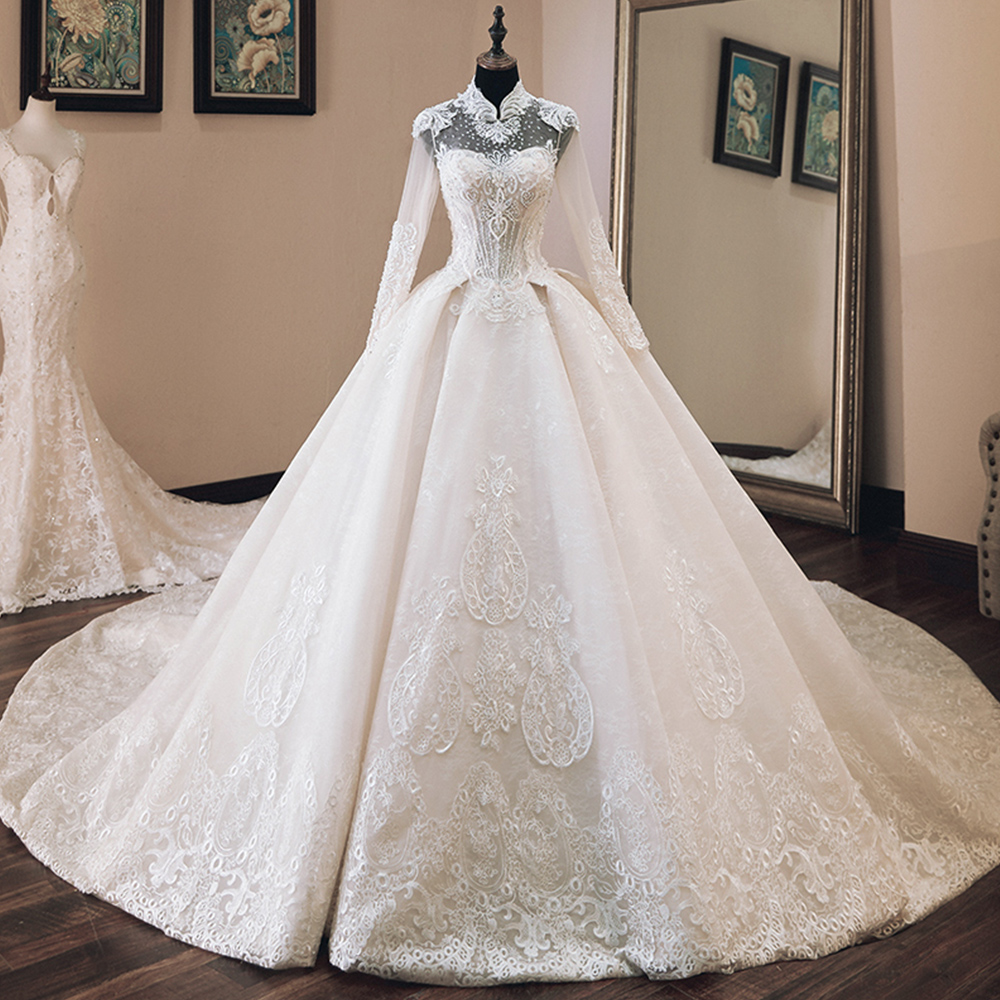 Vestido de Casamento Beading Appliques Luxury Ball Gown Wedding Dresses Long Sleeve 2020 High Neck Trouwjurk Bride Dress