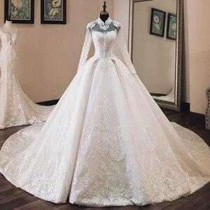 Image 1 - Vestido de Casamento Che Borda Appliques di Lusso Abito di Sfera Abiti Da Sposa Manica Lunga 2020 di Alta Collo Trouwjurk Vestito Da Sposa