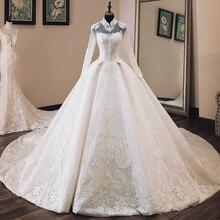 Vestido de novia de lujo con apliques con cuentas, manga larga, cuello alto