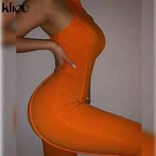 Kliou Classique Solide Tricoté Combinaison Femmes Vêtements De Sport Décontractés Sans Manches Slim Gainantes Une Pièce Vêtements Féminins Chaude