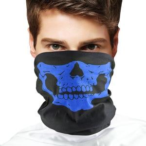 Image 3 - Фестивальные маски с черепом для мотоцикла, велосипеда, лыжного черепа, полумаска для лица, полиэстер, шарф призрак, скелет, шея, Теплые воротники, защита на запястье