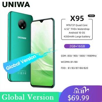Купить Мобильный телефон DOOGEE X95, 4G LTE, Android 10, экран 6,52 дюйма, тройная камера 13 МП, 2 Гб ОЗУ 16 Гб ПЗУ, MTK6737, 4350 мАч