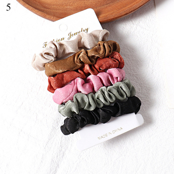 1 Set Scrunchies Hair Ring Candy Color Hair Ties Rope Autumn Winter Women Ponytail Hair Accessories 4-6Pcs Girls Hairbands Gifts 1