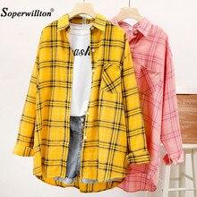 Camisa xadrez de algodão tamanho grande 2020, feminina folgada, amarela/rosa, para outono e inverno/preto