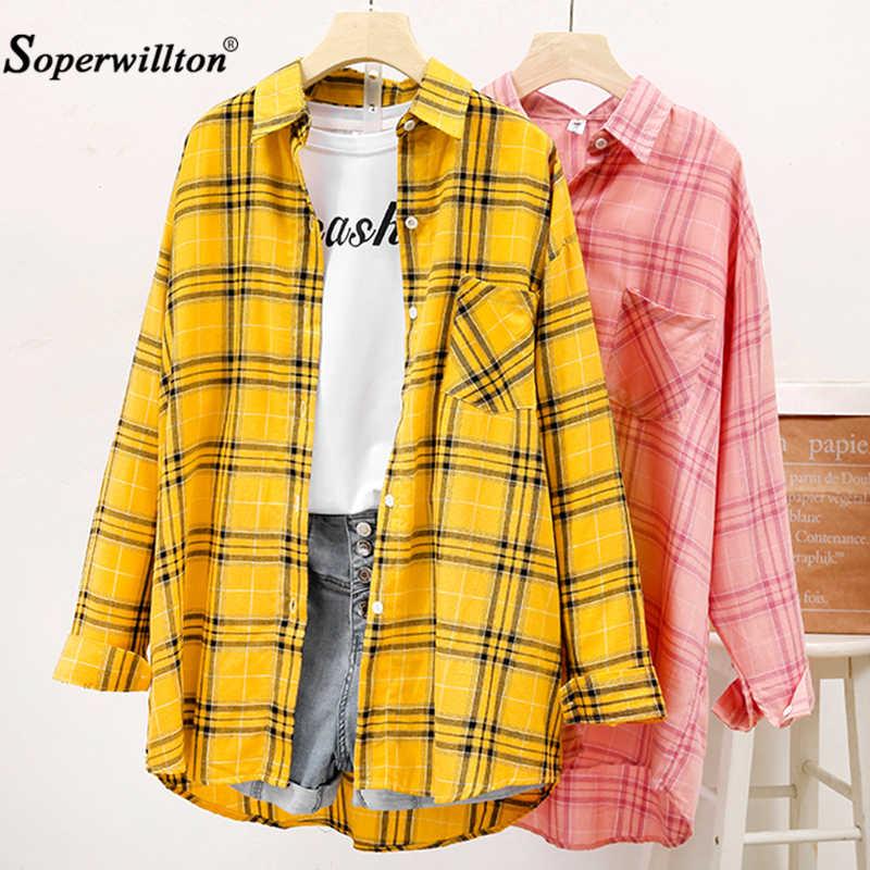 T-Shirt vrouwen Casual Bijpassende Kleur Lange Mouw Knop Losse Plaid Shirt Tops harajuku Kleding vrouwen t-shirt Zwart/Geel/ roze