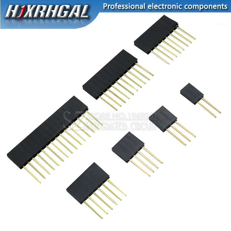 10pcs 2/3/4/6/8/10/15 <font><b>Pin</b></font> 2.54 mm <font><b>Stackable</b></font> Long Legs Femal <font><b>Header</b></font> For Arduino Shield image