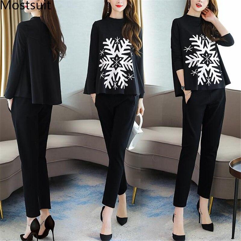 2019 Autumn Black Snowflake Print Two Piece Sets Outfits Women Plus Size Tops And Pants Suits Elegant Office Korean Fashion Sets 31