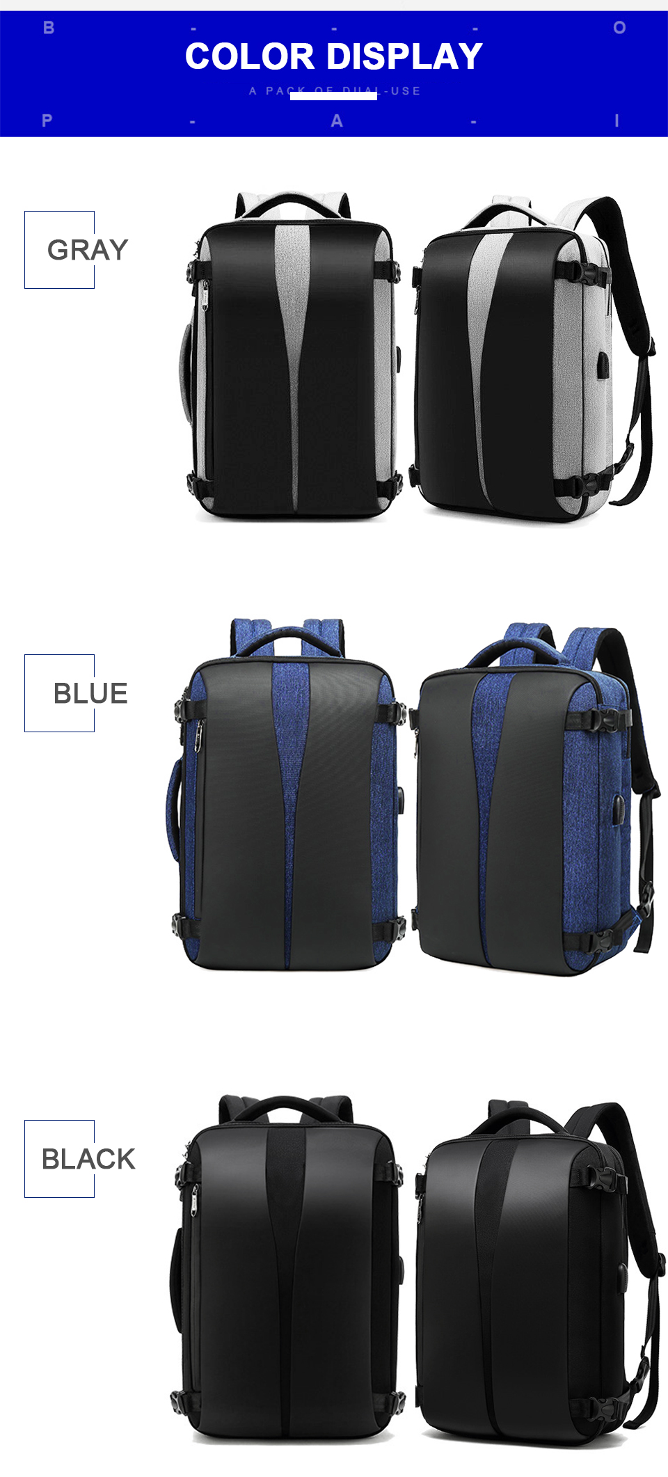 Men Backpack Anti Theft Travel Bagpack Laptop 15.6 Inch Notebook Waterproof Bags USB Charging Male Business Fashion Unisex Bag (13)