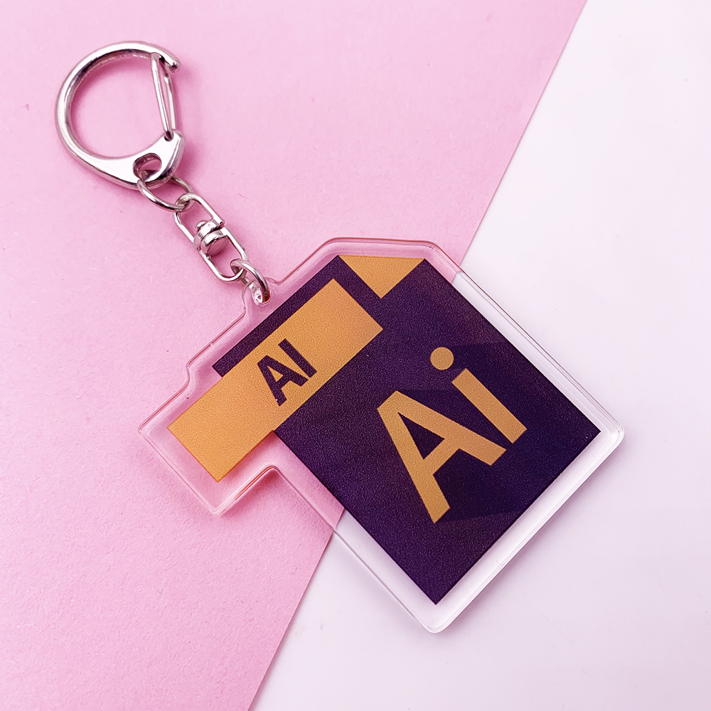 Cute Office Software Icon Keychain Two-sided Key Chain PS Ai Excel Acrylic Bag Charm Pendant Accessories Key Ring K0152