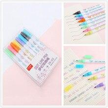Glitter Farbe Leuchtstoff Marker Metall Farbe Stift Doppel Linie Kontur Stift 8 teil/satz
