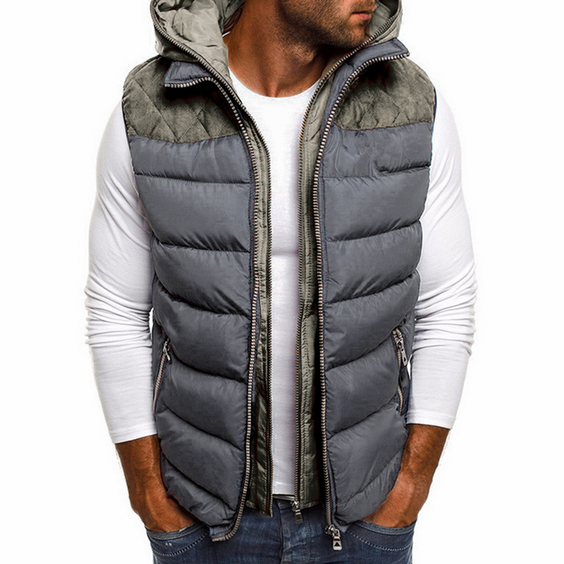 Fashion Winter Coat Vest Men Warm Sleeveless Jacket Casual Waistcoat Cotton Vest Hooded Coat  Down Jacket Men Vest