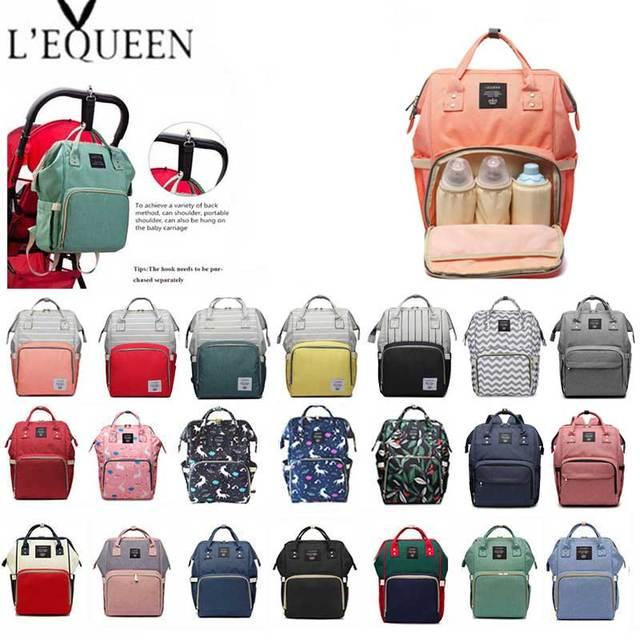 Lequeen موضة المومياء الأمومة الحفاض حقيبة العلامة التجارية سعة كبيرة الطفل حقيبة حقيبة السفر مصمم حقيبة التمريض لرعاية الطفل