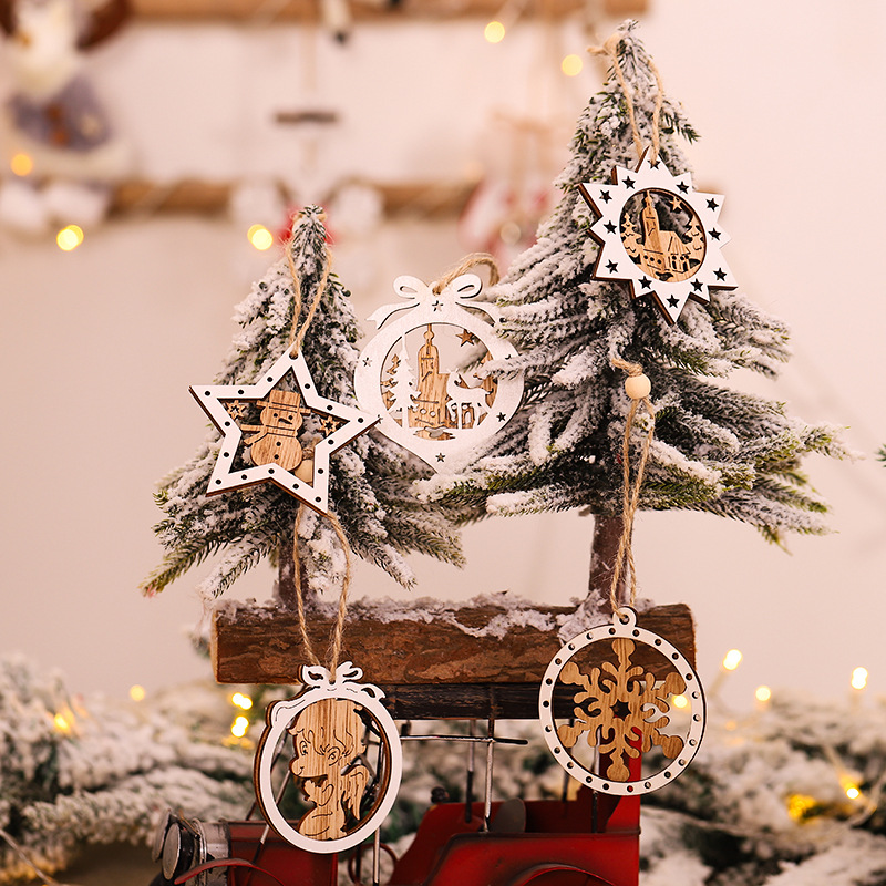 New Year Party Decoration 2Pcs Wooden Angle Toys Christmas Tree Ornaments Christmas Decorations for Home Navidad Wedding Decor