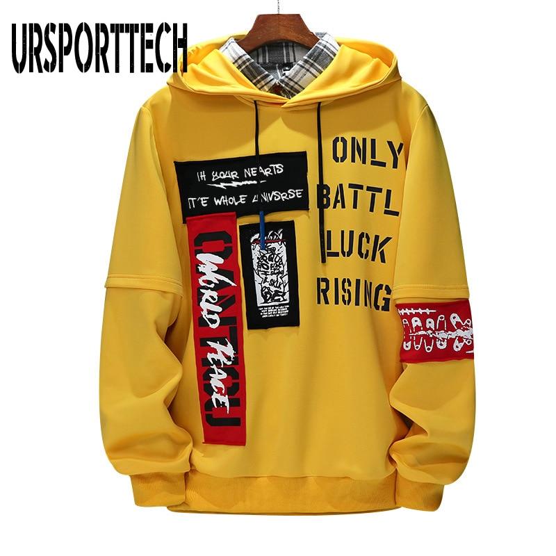 URSPORTTECH yepyeni erkek Hoodies tişörtü erkekler mektup baskı uzun kollu Hoodie Hip Hop Streetwear giyim artı boyutu M-4XL