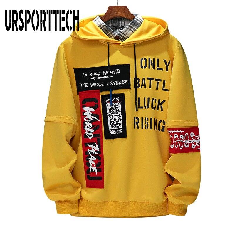 URSPORTTECH Brand New Men Hoodies Sweatshirts Men Letter Print Long Sleeve Hoodie Hip Hop Streetwear Clothing Plus Size M-4XL