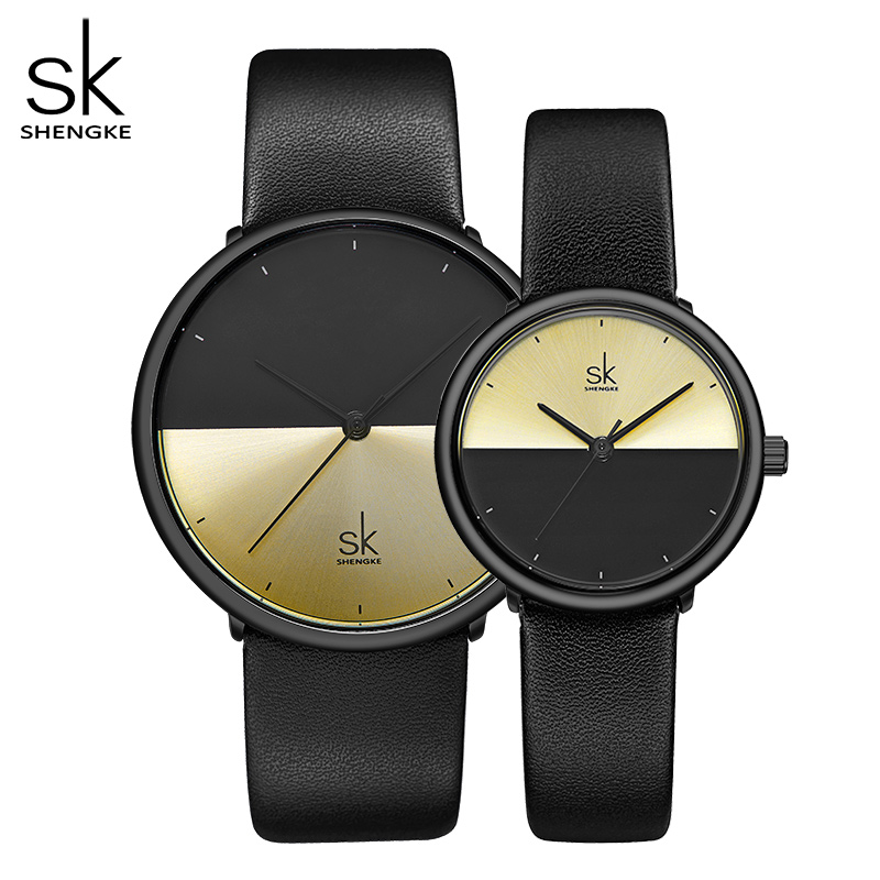 ShengKe Casual Lovers Watches Women Black Leather Strap Quartz Men Watch Ladies Dress Couple Watch Clock Relogios Femininos