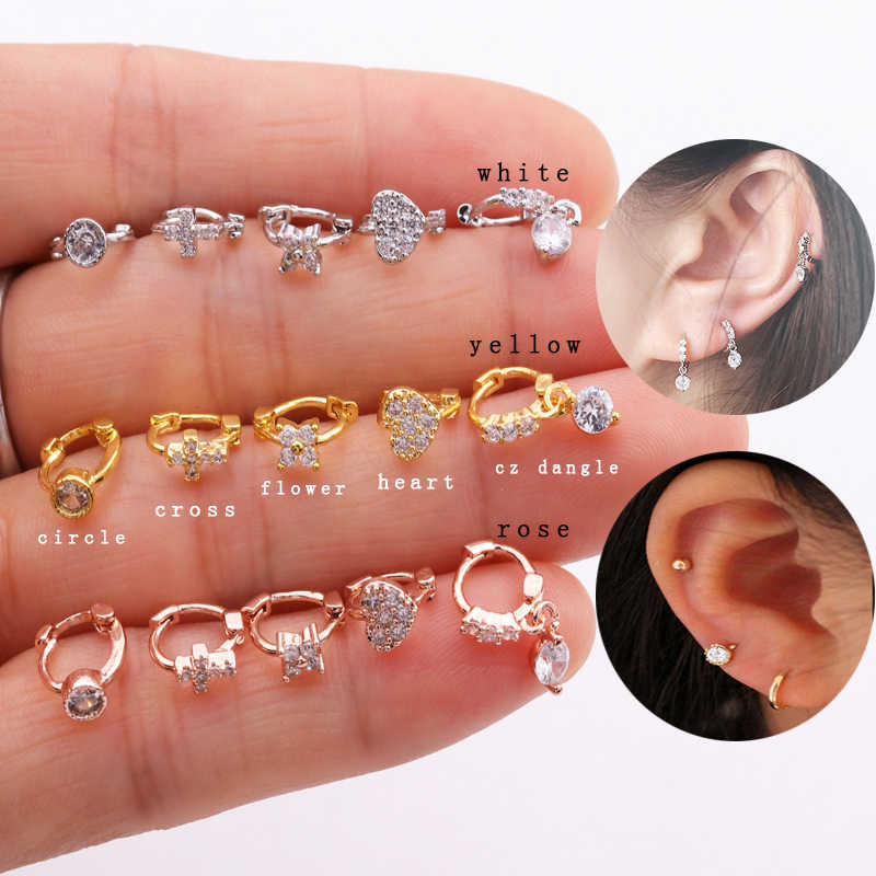 Sellsets 1 Piece Luxury Yellow Rose Gold Color  Cz Dangle Tragus Daith Rook Cartilage Hoop Earring Ear Piercing Jewelry