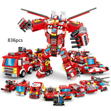 City Ladder fire engine Truck vehicle 8in1 super Transformation robot building block fireman figures mini helicopter bricks toys(China)