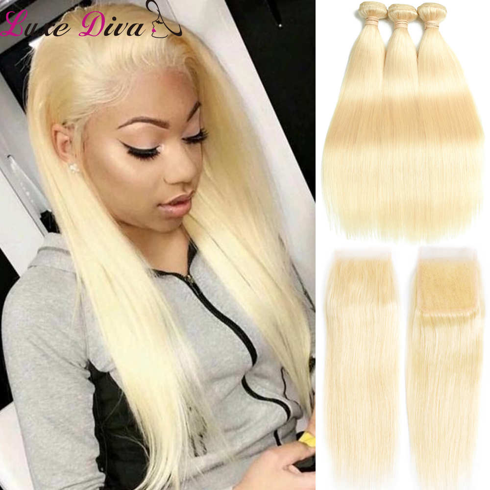 Luxediva Honey Blonde Bundles With Closure Remy Brazilian Straight Human Hair 613 Bundles With Closure Pre-plucked With Babyhair