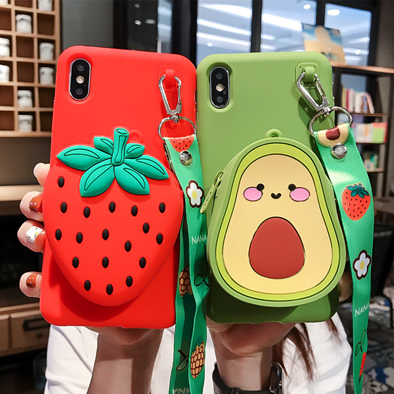 Fruits Phone Case  for xiaomi redmi note 7 6 8 pro k20 k20 8A 7A 4A 4A 5A note 8T Soft Silicone Zipper Coin Wallet Cover bag|Phone Case & Covers|   - AliExpress