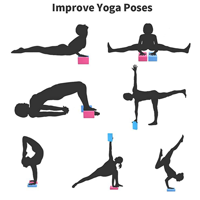 EVA Yoga Block Set Pilates Brick Fitness Belt Set for Exercise Workout Fitness Training Block Brick