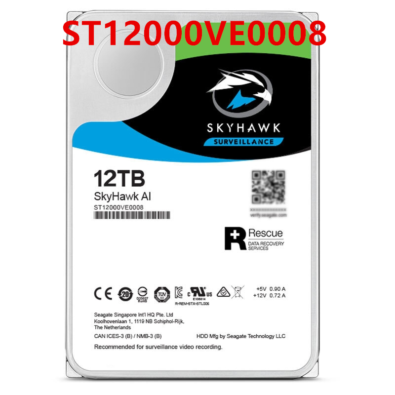 """New HDD For Seagate 12TB 3.5"""" SATA 6 Gb/s 256MB 7200RPM For Internal HDD For Surveillance HDD For ST12000VE0008 1"""