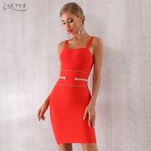 Adyce 2020 New Summer Red Bandage Dress Women Sexy Spaghetti Strap Mini Club Dress Elegant Celebrity Evening Party Dress Vestido