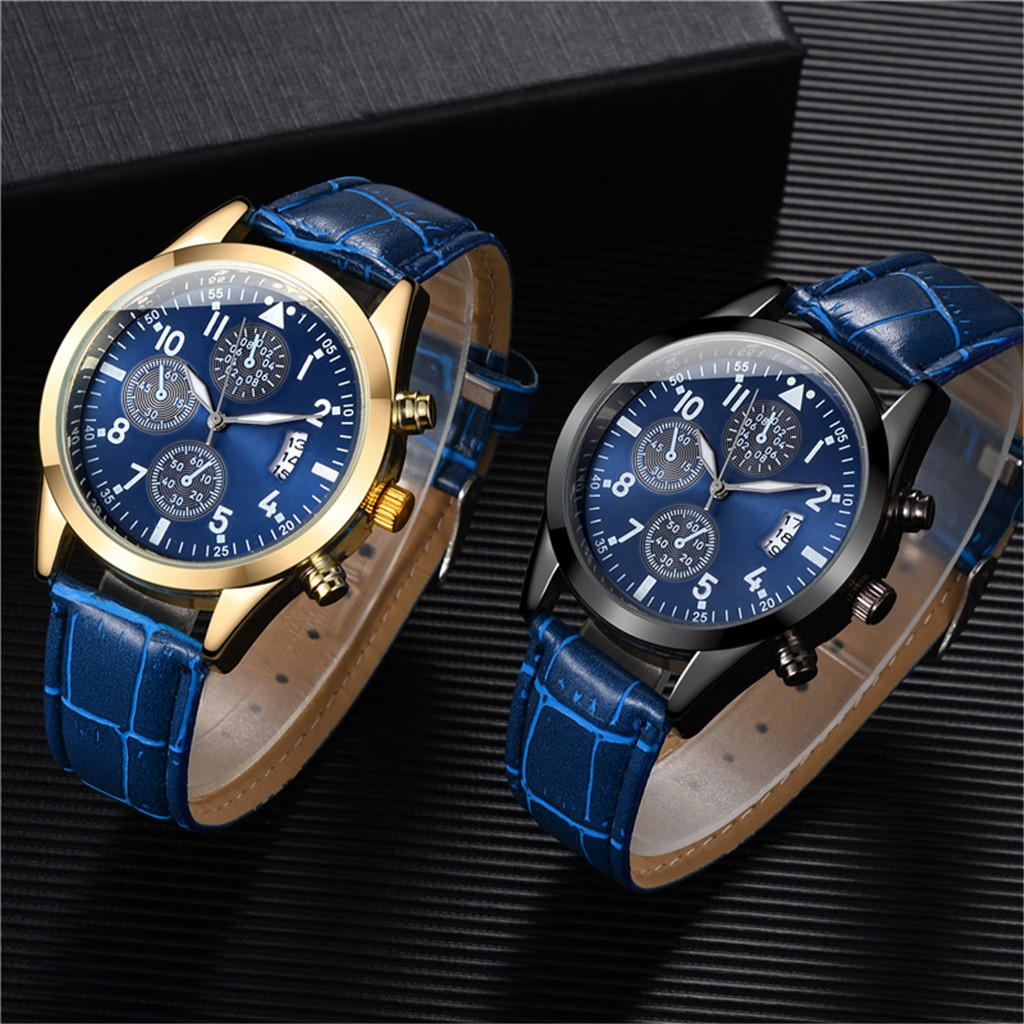 Fashion Men's Leather Belt Wrist Watch With Calendar Function Plus Luminous Function Watches Montre Homme FJSL