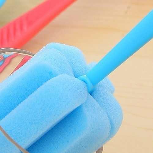 2pcs 주방 청소 도구 스폰지 브러쉬 와인 글라스 병 coffe 차 유리 컵 색상 랜덤