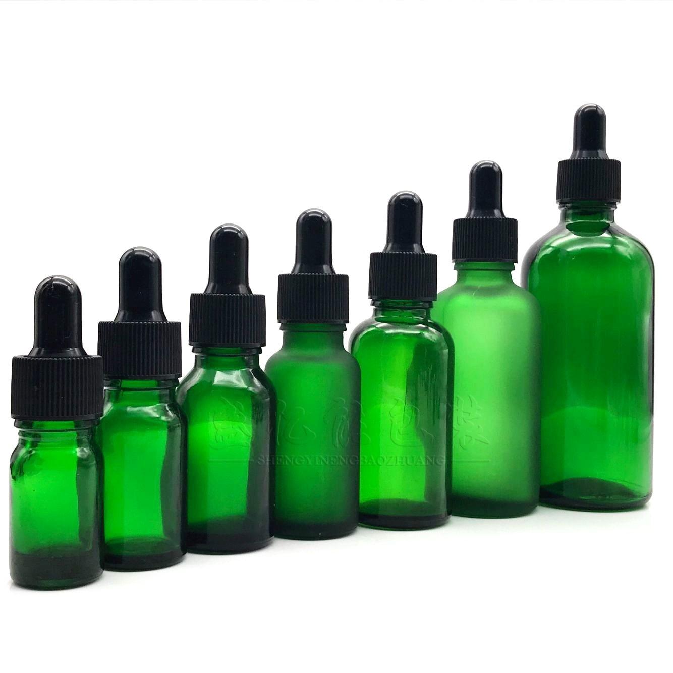 5ml-100ml Green Essential Oil Bottle Essential Oil Dispensing Bottle Dropper Essence Bottle Glass Refilable Bottles