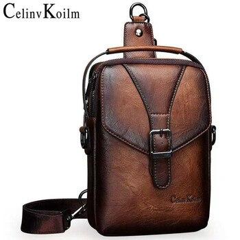 Celinv Koilm New Vintage Men Shoulder Bag Fashion Business Leather Crossbody Sling Messenger Bags Chest Daypack For Men Cool