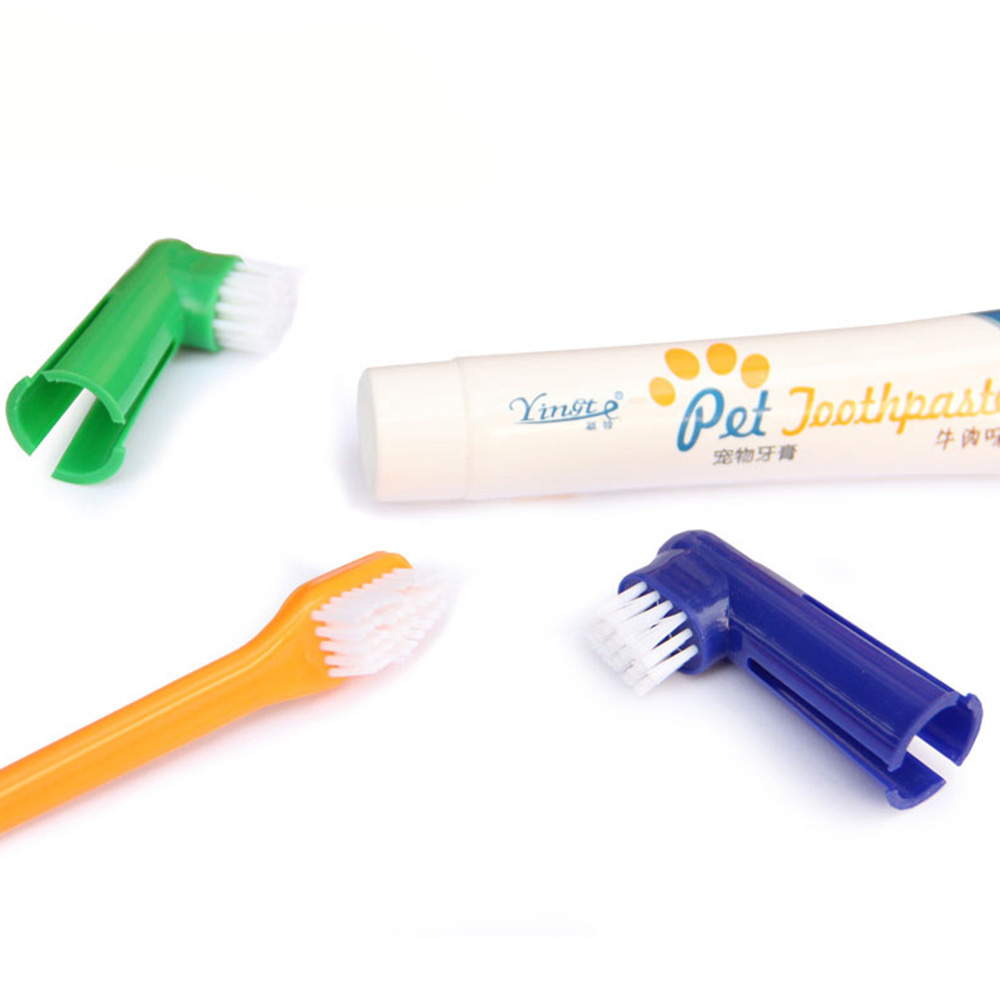 Dog Toothpaste Set Vanilla/Beef Taste Pet Toothbrush Single/double Finger Teeth Whitening Cats Dogs Toothbrush Toothpaste Tools image