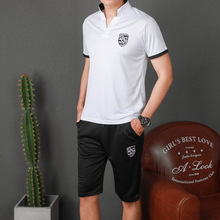 Summer Men Sportswear Tracksuit Short Sleeve T-shirts Sweatshirt+pant Running Jogging Casual Workout Outfit Exercise Sport Suit