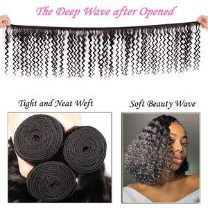 Image 5 - Brazilian Deep Wave Bundles With Closure Remy Human Hair Bundles with Closure Pre Plucked Julia Lace Closure with Weave Bundles