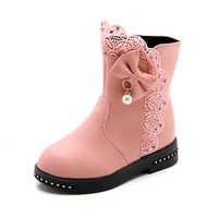 SKOEX 冬の新キッズブーツ女の子ブーツ子供高蝶ネクタイ靴女の子 Pincess ドレスブーツビッグ子供の靴のサイズ 27-37