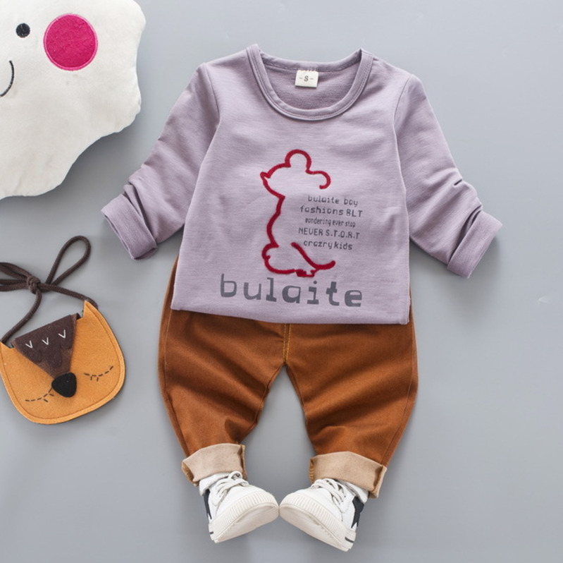 Pants 2 Pieces Clothing Sets Outfits Aile Rabbit Kids Long Sleeves Cartoon Elephant Print T-Shirt