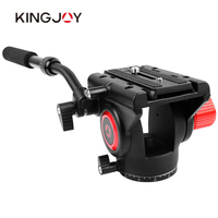 Kingjoy VT 3510 Aluminum Alloy 360 Panoramic Fluid Drag Damping Head Video Tripod Head with Quick Release Plate for Photo Studio