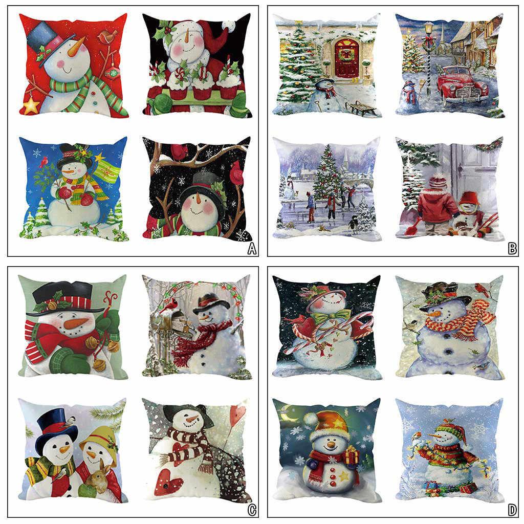 4 قطعة 45x45 سنتيمتر pillowالسنة الجديدة عيد ميلاد سعيد سانتا كلوز الأيائل شجرة Cases غطاء للمنزل عيد الميلاد سلسلة حك
