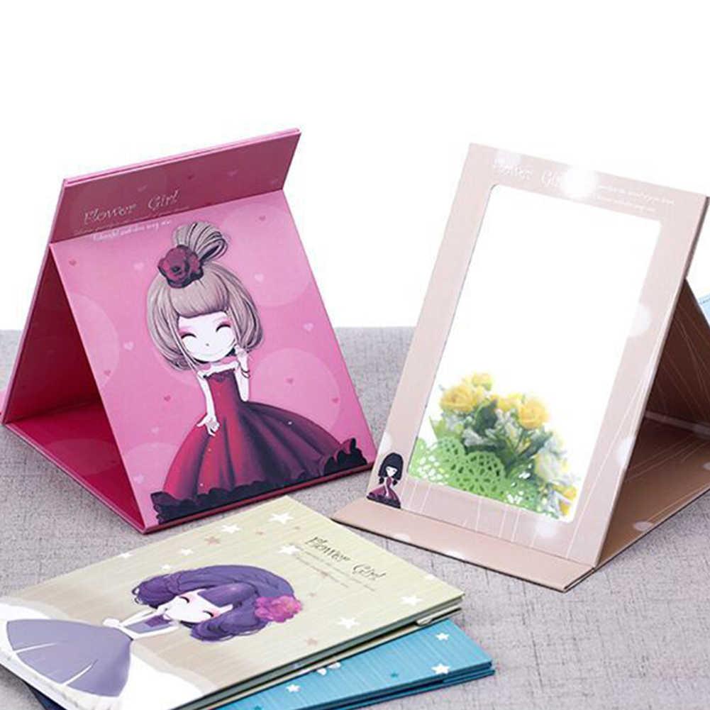 Portable Desain Kartun Lucu Lipat Perjalanan Kertas Desktop Riasan Kosmetik Cermin