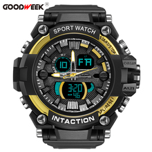 цена GOODWEEK Luxury Men Sport Watch Waterproof Digital Quartz Watches Men's Multi-functional Dual Display Watches Relogio Masculino онлайн в 2017 году