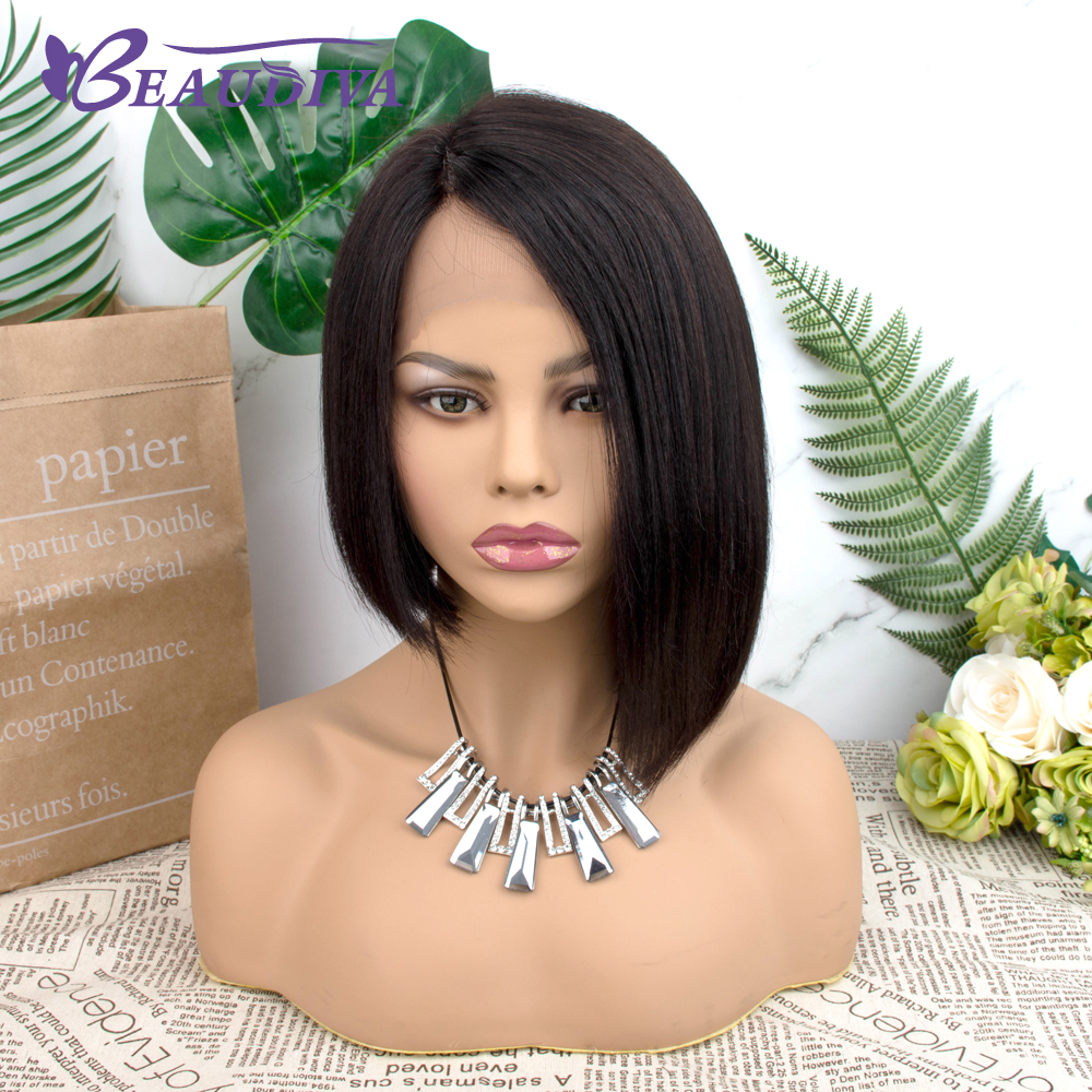 Straight Short  Wigs 150%   Hair Can Be Dyed Part Lace Bob  Wigs Pre-Plucked Bleached Knots 2