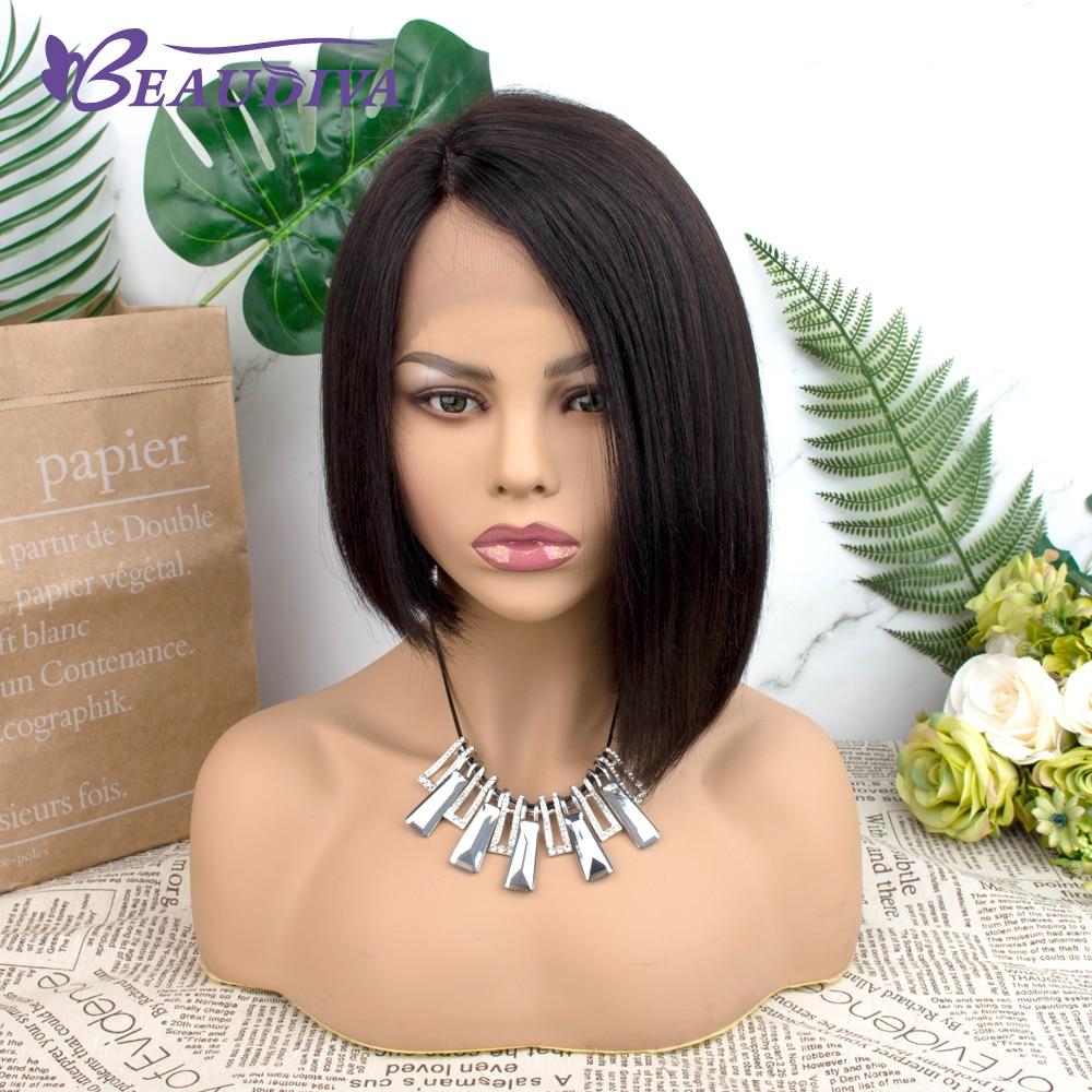 Straight Short Human Hair Wigs 150% Density Part Lace Wig Bob Beaudiva HAIR Malaysian Lace Wig 100% Human Hair Wigs