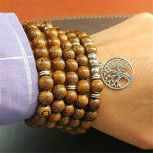 Mala Meditation Buddhist Charm Yoga Jewelry Men Bracelets Wood Rosary Tibetan 108-Beads