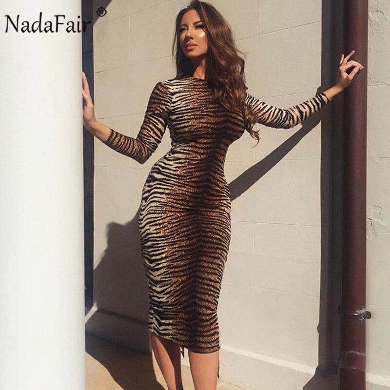 Nadafair Autumn Long Sleeve Vintage Animal Print Dress Women Tiger Leopard Print Winter Club Party Bodycon Midi Dress Female