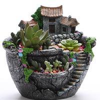 Resin Succulent Plant Pot Exquisite Bonsai Unique Flower Pot Garden Planter Office Holder Desktop Ornement Garden Pots Planters
