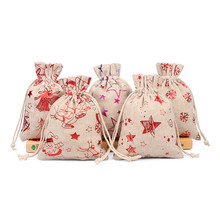 10x14cm Gilding Gifts Bags Christmas Santa Claus Snowman Elk Pattern Jewelry Pouches Cotton Linen Drawstring Bag 10x14cm linen cotton drawstring bag jewelry bag decorative bags christmas wedding gift pouch product packaging bags