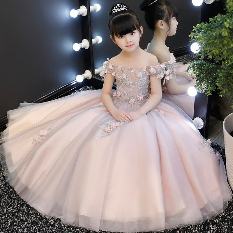 Off-the-Shoulder Girls Wedding Dress Host Children Birthday Evening Gown Princess Dress Flower Boys/Flower Girls Piano Costume L