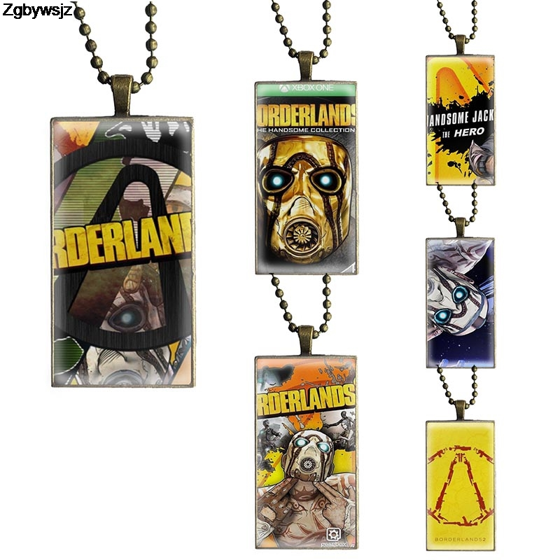 Necklace Fashion Long Chain With Rectangle Necklace Jewelry For Men Women Gift Anime <font><b>Borderlands</b></font> 2 image