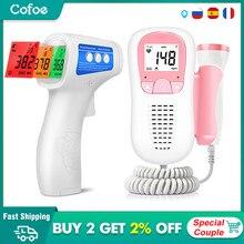 Cofoe doppler fetal monitor de freqüência cardíaca em casa gravidez bebê monitor & testa termômetro sem contato termômetro infravermelho para o bebê